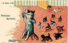 A Cat´s Life - Thirteen kittens | Louis Wain