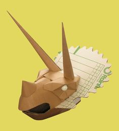 cardboard triceratops head