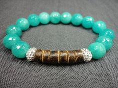 Turquoise Jade Gemstone/Swarovski Crystal/Sterling by A2Bjewelry, $25.00