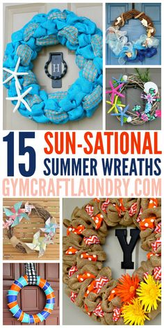 Take a look at these 15 beautiful DIY Summer Wreaths.  If you are looking for a pretty craft for your front door, get some ideas and inspiration from this collection!  Brighten up your home's curb appeal while celebrating summer with a fun DIY.