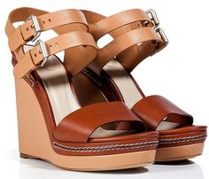 CHLO�� Nude-Chestnut Leather Wedge Sandals Design works No.459 |2013 Fashion High Heels|