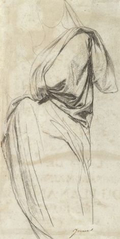 """Jean-Auguste-Dominique Ingres French (Montauban 1780 - 1867 Paris) Drapery Study for the Madonna in """"The Vow of Louis XIII""""   Harvard Art Museums"""
