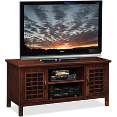 Chocolate/Black Glass 50-inch TV Stand & Media Console | Overstock.com Shopping - Great Deals on KD Furnishings Entertainment Centers