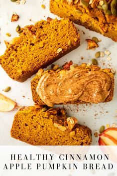 Cinnamon apple pumpkin bread is perfectly spiced, fluffy and crumbly and the baked honey crisp apple pieces on top will make you fall in love with it! It's made with simple ingredients, low in sugar and can be made vegan. Canned Pumpkin, Pumpkin Bread, A Pumpkin, Pumpkin Recipes, Sugar Pumpkin, Apple Recipes, Fall Recipes, Healthy Dessert Recipes, Healthy Treats