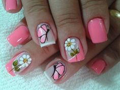 Esmalte Rosa Chiclete com Unhas Gêmeas - Borboleta e Margarida Fancy Nails, Diy Nails, Cute Nails, Pretty Nails, Nail Polish Designs, Nail Art Designs, Nails Design, Butterfly Nail Art, Gold Glitter Nails