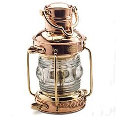 """Solid Brass & Copper Nautical Oil """"Anchor Lamp"""" from Garrett Wade.  Gorgeous."""