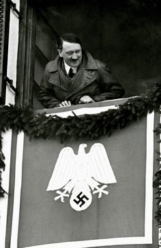 Hitler at Garmisch-Partenkirchen during the Winter Olympics leaning out of his hotel room at the Olympia Haus (February European History, American History, World War Ii, World History, Germany Ww2, Empire, The Third Reich, Rare Photos, Vintage Photographs