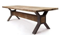 Reclaimed Farm Table with Steel Base