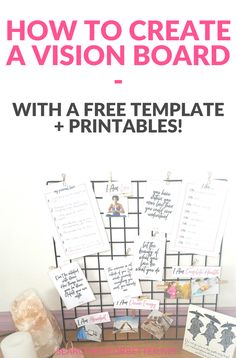 Creating A Vision Board 2018 (With Free Vision Board Template + Printables How To Create A Vision Board Find and on how to create your vision board with this free and This template makes your vision board easy! Vision Board Template, Vision Board Ideas Diy, Goal Board, Web 2.0, Creating A Vision Board, Templates Printable Free, Free Printables, Printable Quotes, Planer