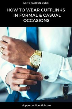 Whether lively or a classic French cuff shirt, there is a cufflink for every occasion. Read the article to find out how to pair these accessories with your events. Mens Gadgets, Mens Style Guide, Best Mens Fashion, Bracelets For Men, Bracelet Men, Men's Grooming, Men Necklace, Stylish Men, Fashion Essentials