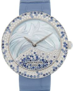 Calatrava Automatic Mother of Pearl and Blue Sapphire Ladies Watch