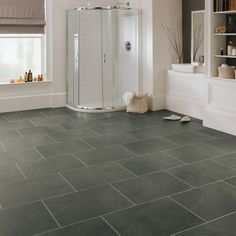 Fun fact! 🗯️   Our Oakeley visual takes its inspiration from an original piece of slate recovered from the largest underground slate quarry in the world, Oakley Quarry, based in the town of Blaenau Ffestiniog, north Wales, before its closure in April 2010.   This welsh slate is both intriguing and distinctive in design with tonal grays, greens and an understated hint of petroleum green.  Order your free sample today! Floor Art, Tile Floor, Slate Flooring, Travertine Tile, North Wales, Grey Stone, Cabin Ideas, Floor Design, Home Office Decor