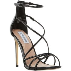Steve Madden Satire Strappy Stiletto Heeled Sandals (€90) ❤ liked on Polyvore featuring shoes, sandals, black, steve madden sandals, black patent sandals, black stilettos, strap sandals and strappy high heel sandals