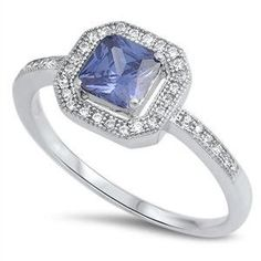 Sterling Silver 1.20 Carat Princess Cut Square Tanzanite Round Russian Diamond CZ Clear Crystal Halo Wedding Engagement Anniversary Ring