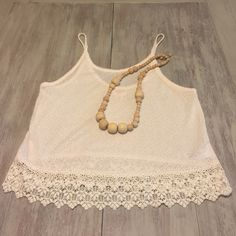 Tank top Cream color, knit top with crochet details. Mossimo Supply Co Tops Tank Tops