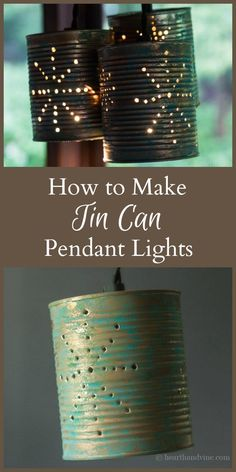 This tin can pendant lights project is easy to put together. Decorate them with craft paint, and use a hammer and nail to create a pretty pattern of light.