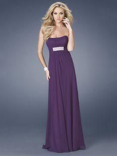 A-line Dark Purple Strapless Drape Floor-length Prom Dress With Embellished Trim
