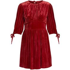 Alexachung Round-neck crushed-velvet mini dress ($440) ❤ liked on Polyvore featuring dresses, red, going out dresses, red party dresses, short party dresses, red holiday party dress and crushed velvet dress