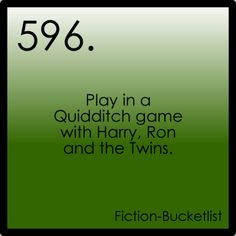 Play in a Quidditch game with Harry, Ron, and the Twins