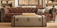 Canvas & Leather Wrapped Trunk for Living Room Coffee table | Restoration Hardware