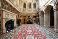 The Great Hall, Highclere Castle. The grand staircase in through the arches on the right.