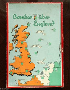 In one version of bagatelle named Bombers over England, children as young as four were encouraged to blow up settlements by firing a spring-driven ball on to a board featuring a map of Britain and the tip of Northern Europe. Players were awarded a maximum 100 points for landing on London, while Liverpool was worth 40.   Read more: http://www.dailymail.co.uk/news/article-476361/German-children-played-Bombers-England-boardgames-WWII.html#ixzz3haYHMLC4  Follow us: @MailOnline on Twitter…