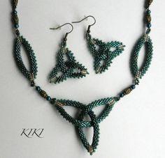 Beaded celtic knot peyote triangle pendant with by BeadedByKiKi, $28.00
