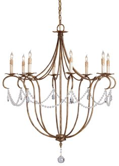 The beautiful proportions of the Crystal Light Chandelier's delicate frame is augmented by the sparing use of crystal ornamentation. This chandelier satisfies both the traditional and the contemporary