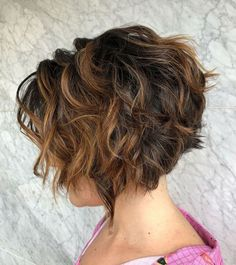 The Full Stack: 50 Hottest Stacked Haircuts Dark Curly Shaggy Bob With Highlights Short Curly Hair, Short Hair Cuts, Curly Hair Styles, Curly Inverted Bob, Stacked Inverted Bob, Curly Stacked Bobs, Short Inverted Bob Haircuts, Layered Haircuts, Bob Hairstyles For Thick