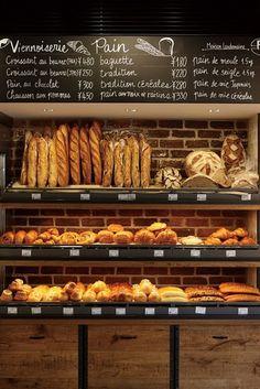 Bread Shop Display Food Ideas For 2019 Bakery Shop Design, Coffee Shop Design, Cafe Design, Design Design, Bread Display, Bakery Display, Bakery Store, Bakery Cafe, Deco Restaurant