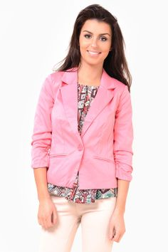 One button blazer featuring length sleeves with ruched detail at the cuff and twin front pockets. Blazer Buttons, Twin, Pockets, Detail, Blouse, Coat, Sleeves, Clothes, Women