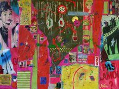 Tableau abstrait collage. Tableau de grand format entièrement recouvert de collage de papiers colorés, magazines, cartons, peinture acrylique. C'est un tableau haut en couleurs!