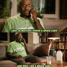 """I was so worried I baked a whole cake...and then I ate a whole cake."" #BroadCity"