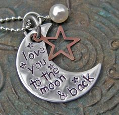 Hand Stamped Jewelry - love you to the moon - Mommy Necklace - Mothers Necklace - Personalized Jewelry