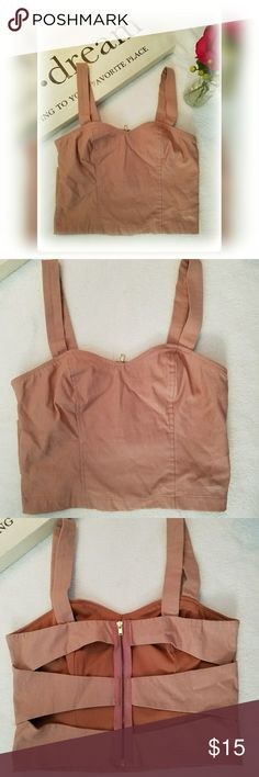 85ee40ae778f9 BLOOM Tan Cut Out Cami Crop Sunmer Top 💌 50% offer tagged price!💌 This  darling crop is so cute with the back cut outs Top is in great preloved  condition ...