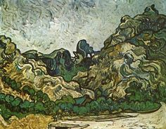 Mountains at Saint-Remy with Dark Cottage, July 1889