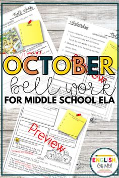 Looking for October bell work for your middle school English class? These activities for middle school are a great way to begin your ELA classes while you are taking care of housekeeping items. #classroomideas #middleschoolresources #highschoolresources #englishteacher #englishresources #englishactivities