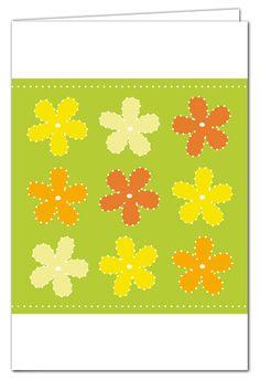Grußkarte zum Prickeln - Blumen Grün/Orange/Gelb - mit farbigem Umschlag