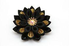 Kanzashi flower brooch black gold kanzashi brooch by FlosMollis