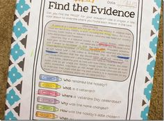 Finding text evidence in passages that integrate social studies, including Holidays Around the World! This would be a great literacy strategy to use with any age level to help build comprehension. Reading Resources, Reading Strategies, Reading Activities, Reading Skills, Teaching Reading, Reading Comprehension, Teaching Ideas, Guided Reading, Learning
