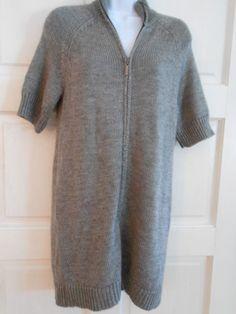 womans sweater short sleeves grey sz s zip front coldwater creek