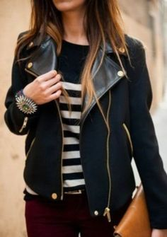 berry pants + stripes + moto jacket.