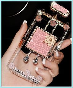 iPhone 6 Plus, 6, 5/5S, 4/4S - Exquisite 3D Bling Gems, Flowers on Perfume Bottle in Assorted Colors - Thumbnail 3