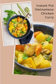 This Instant Pot Vietnamese Chicken Curry (ca ri ga) is a quick and easy version of the classic Vietnamese dish. This aromatic and most flavourful chicken dish is made with yellow curry, lemongrass, fish sauce, vegetables and tender chicken simmered in the most flavourful creamy coconut broth. The Vietnamese chicken curry is a lighter version of the Indian curry #curry #chickencurry #vietnamese #onlyglutenfreerecipes