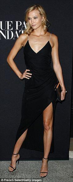Model behaviour: Karlie Kloss rocked a daring thigh-split gown, while Joan Smalls slipped ...