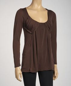 Brown Pleated Long-Sleeve Top