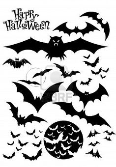 Halloween Bats, Silhouettes Royalty Free Cliparts, Vectors, And Stock Illustration. Halloween Templates, Halloween Vector, Halloween Silhouettes, Halloween Drawings, Halloween Images, Halloween Items, Halloween Stickers, Halloween Cards, Halloween Decorations