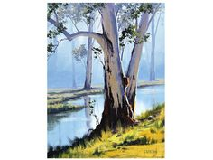 Australian River Gums Traditional Landscape oil painting by G.Gercken Award winning Artist on Etsy, Sold