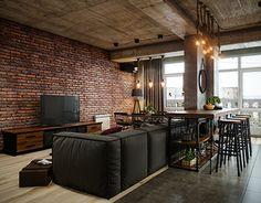 Industrial Interiors, Industrial Bedroom, Industrial Loft, Interior Design Lounge, Condo Living, Home Living Room, Living Room Decor, Brick Building, Metal Building Homes