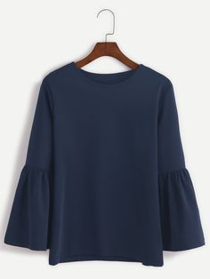 Round Neck Bell Sleeve T-shirt NAVY